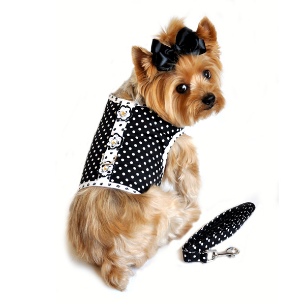 Polka Dot Dog Harness by Doggie Design - Black and White