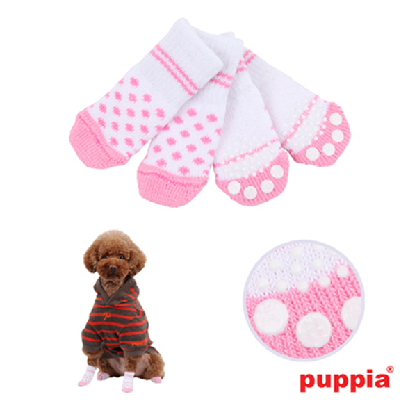 Polka Dot Dog Socks by Puppia - White