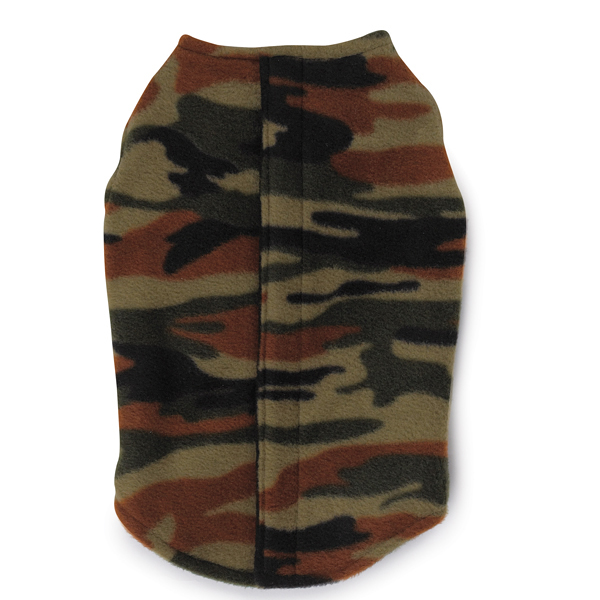 Printed Fleece Vest with Ripstop Chest - Camo