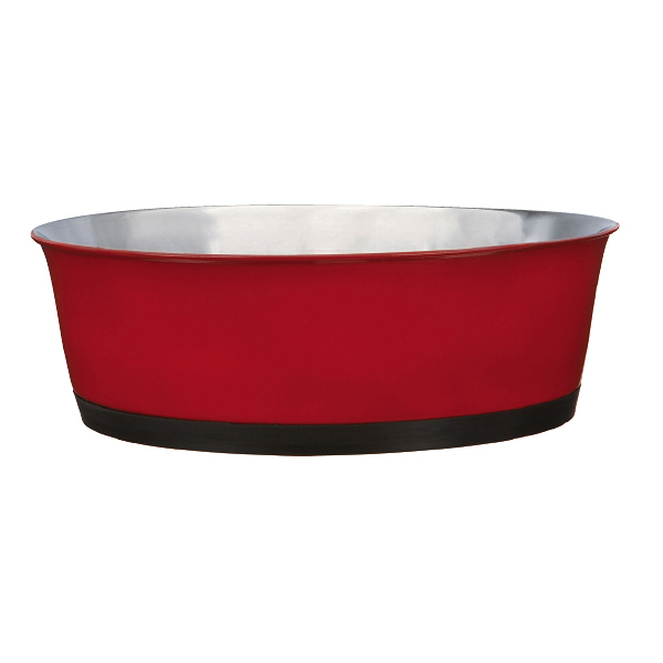 ProSelect Colored Stainless Steel Bowl with Rubber Base - Red