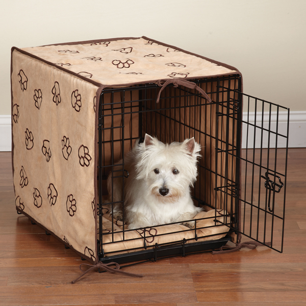 ProSelect Pawprint Crate Cover and Bed Set - Camel