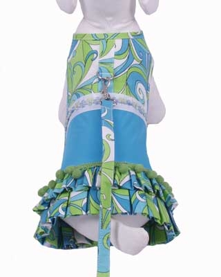 Retro Print Day Dress w/ Leash - Blue
