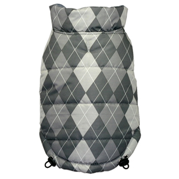 Reversible Puffer Dog Vest by Hip Doggie - Silver Argyle