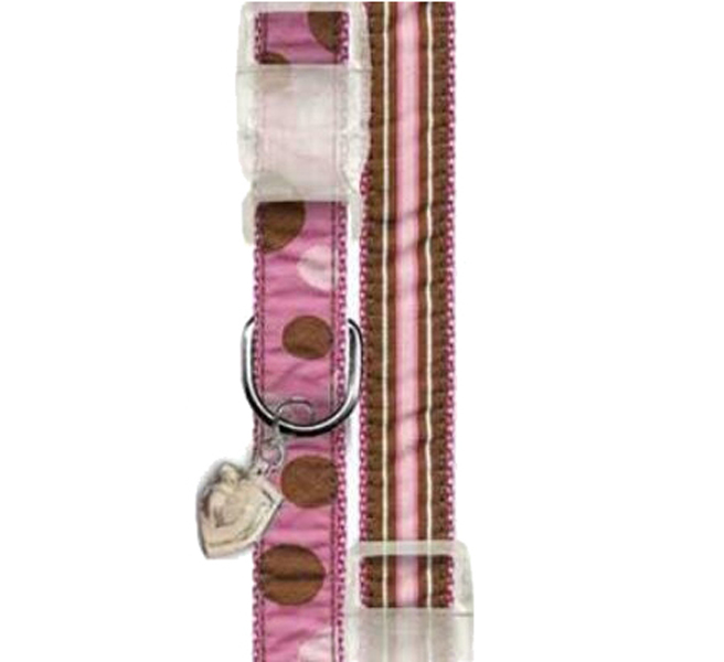Ribbon Pink & Brown Stripe Dog Collar