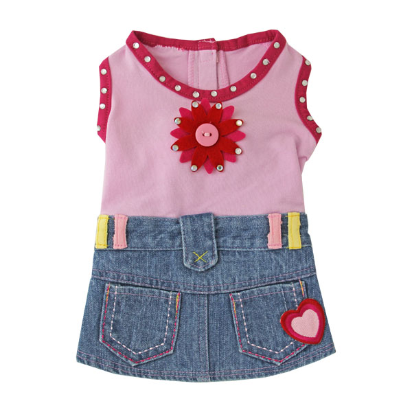 Riley Denim Dress for Dogs - Pink