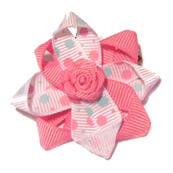 Rosette and Dots Dog Bow - Pink and Blue