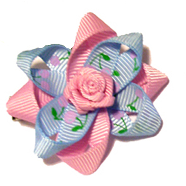 Rosette and Flowered Ribbon Dog Bow - Pink and Blue
