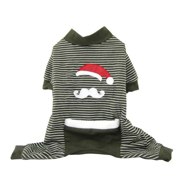 Santa Stache Holiday Dog Pajamas - Olive