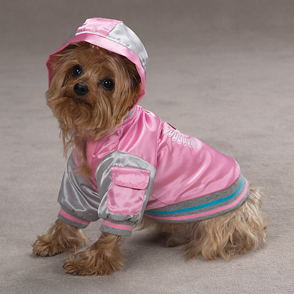 Satin Bomber Dog Jacket - Pink
