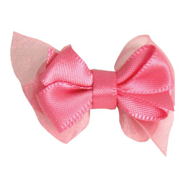 Satin Dog Hair Bow with Alligator Clips - Hot Pink