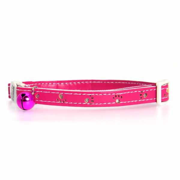 Savvy Tabby Sparkle Paw Cat Collar - Raspberry