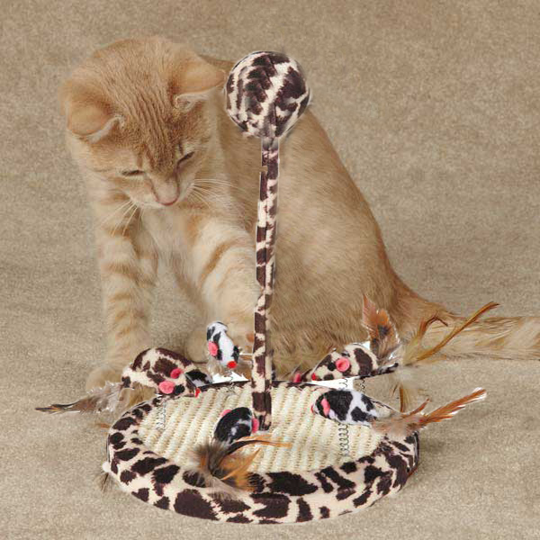 Savvy Tabby Wild Time Chirping Teaser Cat Toy - Brown