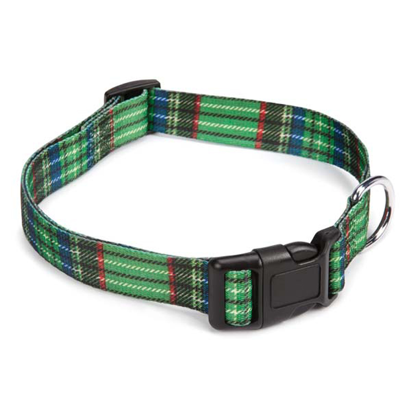 Scotty Plaid Dog Collar - Green