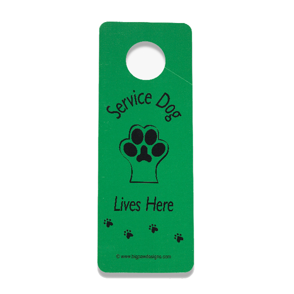 Service Dog Lives Here Door Hanger - Green