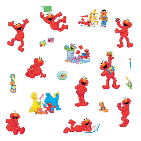 Sesame street bedroom decor elmo centric wall decals at for Elmo wall mural