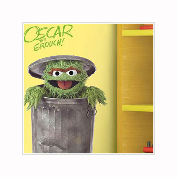 Sesame Street Bedroom Decor - Oscar The Grouch Giant Wall Decal at ...