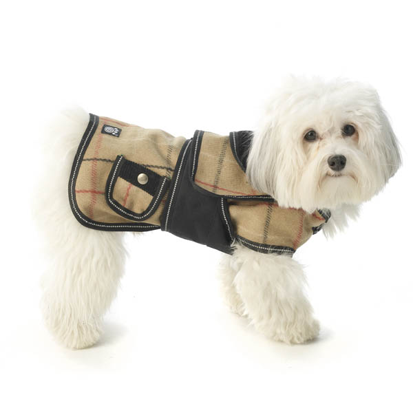 Sherlock Plaid Dog Coat - Camel