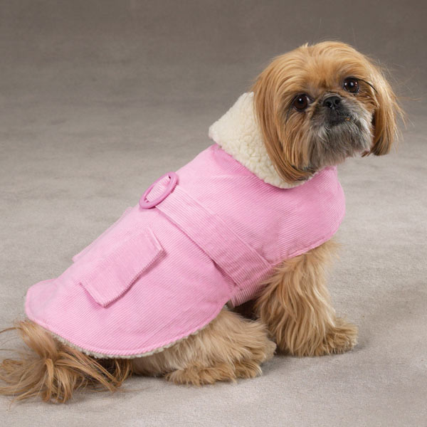 Sherpa Corduroy Dog Coat - Pink
