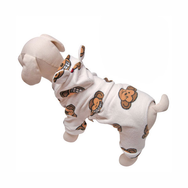 Silly Monkey Fleece Hooded Dog Pajamas by Klippo - White