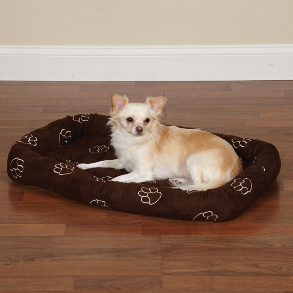 Slumber Pet Embroidered Paw Print Crate Beds - Chocolate