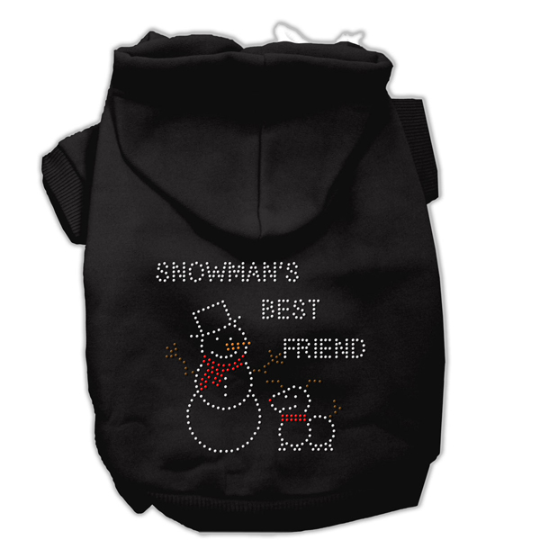 Snowman's Best Friend Rhinestone Dog Hoodie - Black