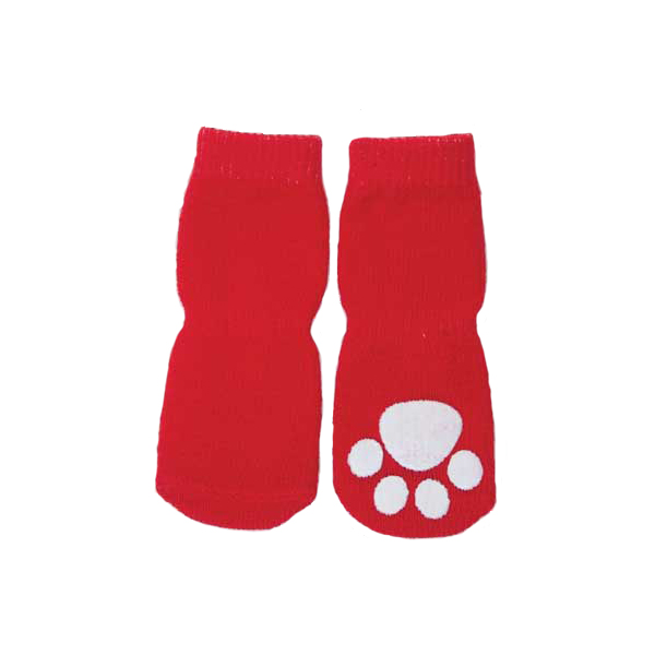 Solid Slipper Dog Socks - Red