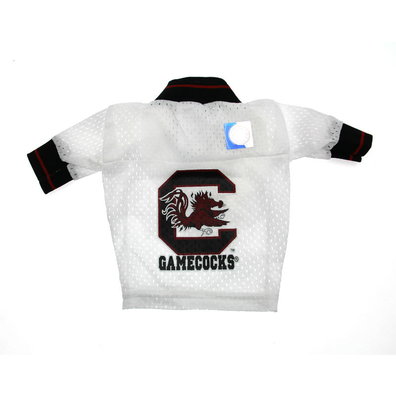 South Carolina Gamecocks White Dog Jersey - Black Collar with Garnet Stripe