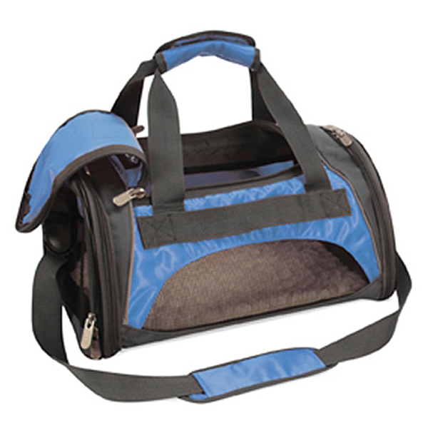 Sport Duffle Bag Dog Carrier - Blue / Silver