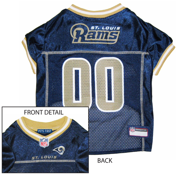 St. Louis Rams Officially Licensed Dog Jersey - Gold Colored Trim