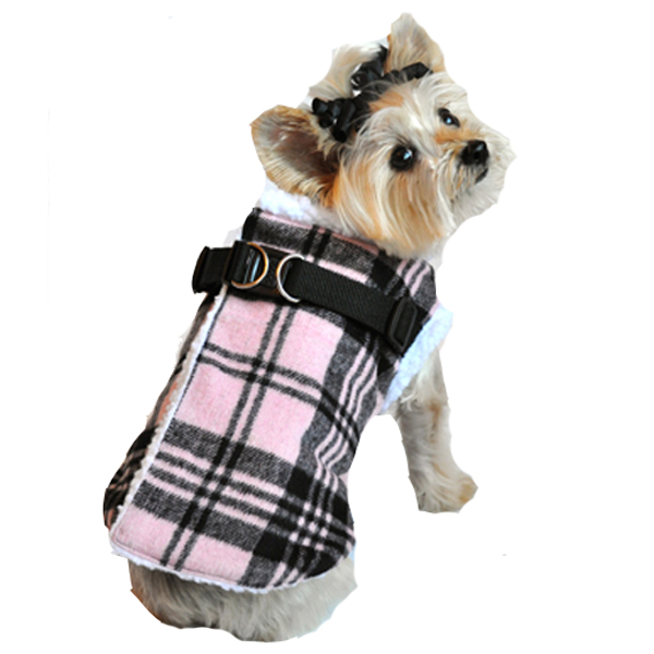 Step In Wrap Dog Coat - Pink Plaid