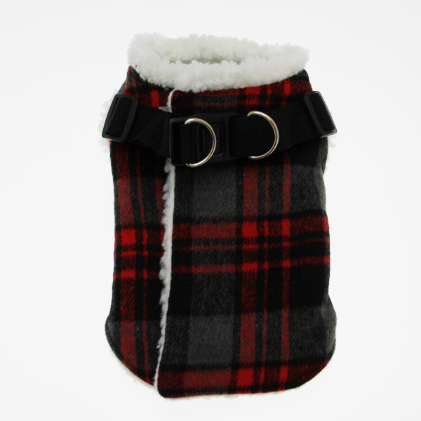 Step In Wrap Dog Coat - Red Plaid
