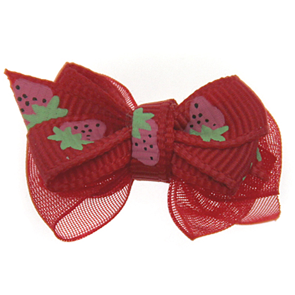 Strawberry Dog Hair Bow with Alligator Clip - Red