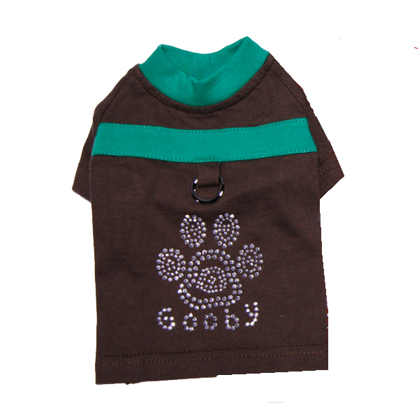 Studded Paw Dog Shirt by Gooby - Brown