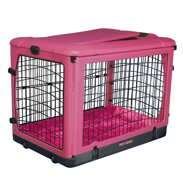 The Other Door Steel Dog Crate Plus - Pink