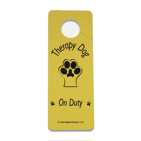 Therapy Dog on Duty Door Hanger - Yellow