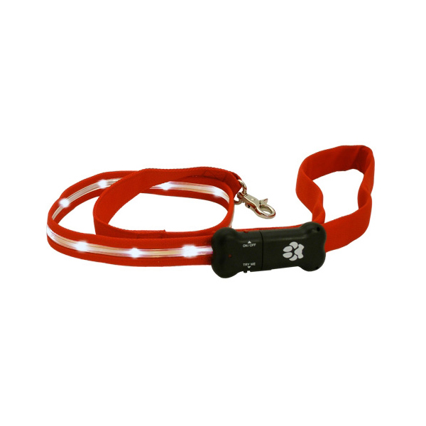 Visiglo Nylon Dog Leash with White LEDs - Red