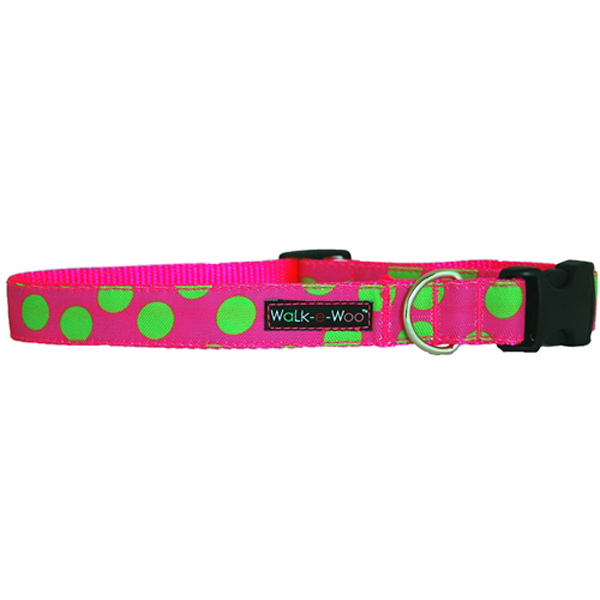 WaLk-e-Woo Neon Green Dot on Pink Dog Collar