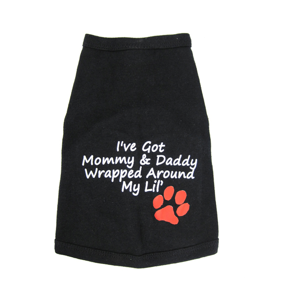 Wrapped Around My Lil' Paw Dog Tank Top - Black