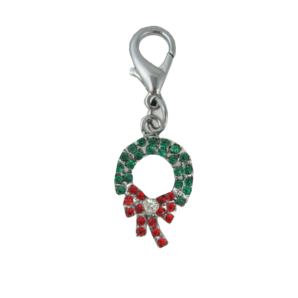 Wreath Holiday Collar Charm