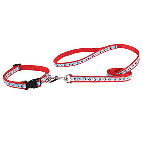 Zack & Zoey Season's Greetings Collar and Leash Set - Penguins On Ice