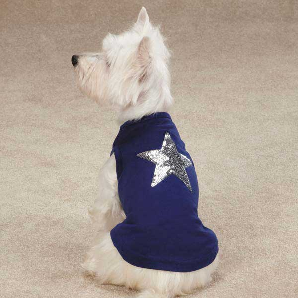 Zack & Zoey America's Pup Sequin Star Dog Tank - Navy