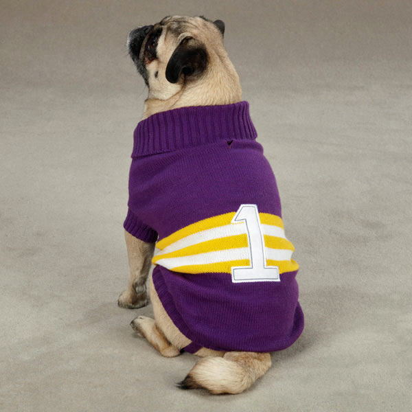 Zack & Zoey Collegiate Dog Sweater - Purple