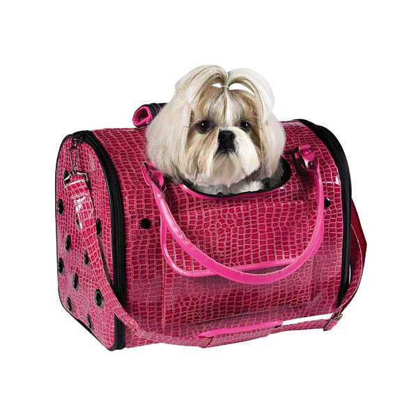 Zack & Zoey Croco Pet Carrier Tote - Pink