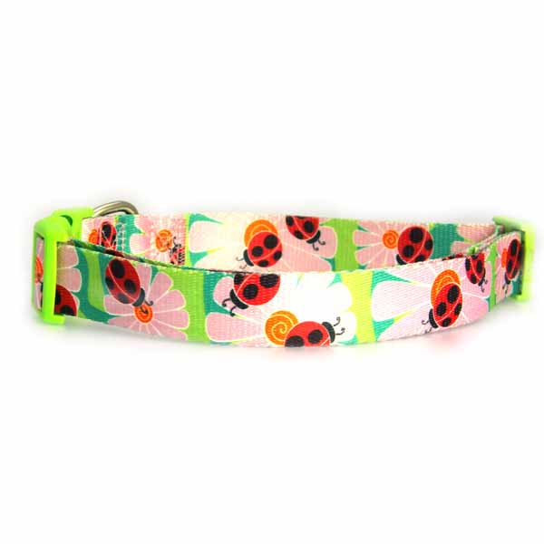 Zack & Zoey Flutter Bugs Dog Collar - Lady Bug