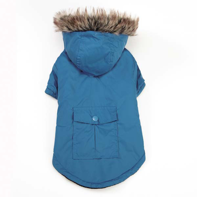 Fur-Trimmed Dog Parka - Blue