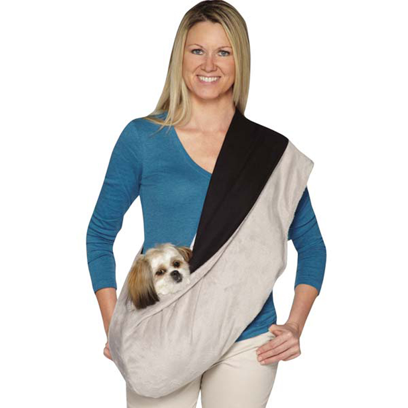 Glacier Plush Reversible Sling Pet Carrier - Gray