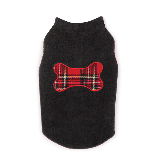Holiday Tartan Dog Fleece Sweater Vest - Black