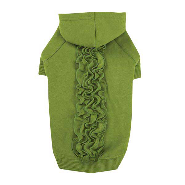 Zack & Zoey Lucy Ruffle Dog Hoodie - Parrot Green