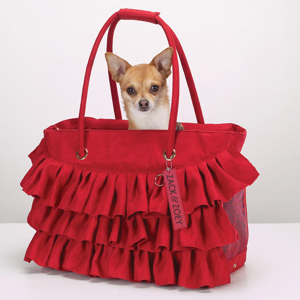 Zack & Zoey Ruffle Pet Carrier - Red