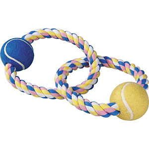 Zanies Pastel Rope Toy with Two Tennis Balls